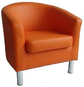 Un Fauteuil de salle à manger, bureau ou de restaurant en cuir reconstitué 66 x 68 x 72 cm Orange