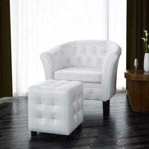 vidaXL Fauteuil Cabriolet Repose-Pied Similicuir Blanc Bureau Chaise de Salon