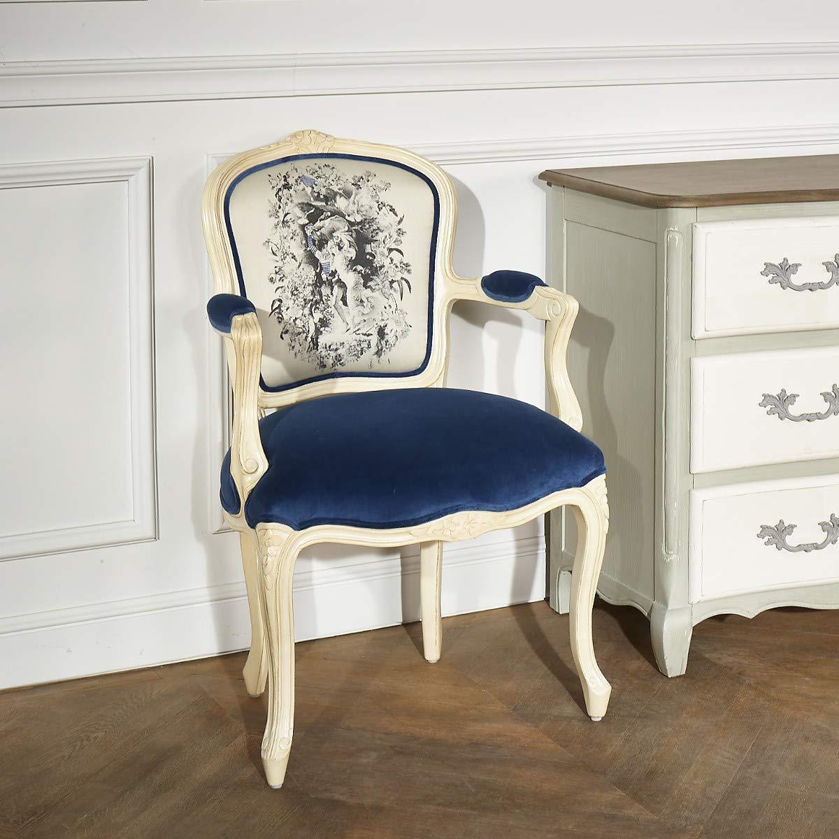 Robin des bois - Fauteuil Cabriolet Louvre Tissus Bleuet